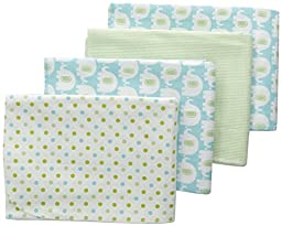 Carter\'s 4 Piece Flannel Receiving Blankets, Elephants/Turquoise/Green