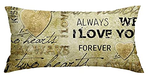 Retro Valentine's Day Art Customized Home Decoration Polyester Rectangle Pillow Cover Case 16 X 40 (Bench Cushion Indoor 40 Inch)