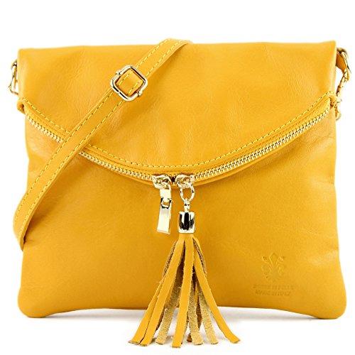 borsa di pelle ital. pochette pochette borsa tracolla Ragazze T139 piccola pelletteria, Präzise Farbe (nur Farbe):T139A Gelb