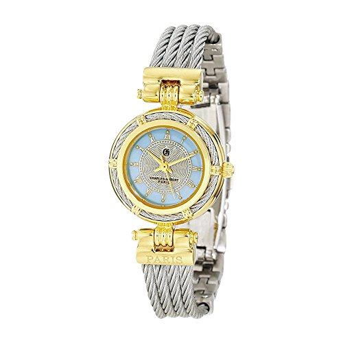 Ip-pltd Mop Dial W/stnlss Stl Wire Bangle Watch by Charles Hubert Paris Watches, Free Gift Box ()