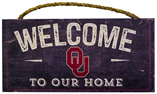 "NCAA Oklahoma Sooners 12"" x 6"" Distressed Welcome to Our Home Wood Sign"