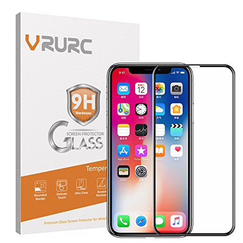 VRURC iPhone X Screen Protector, 5D Curved 9H Hardness Tempered Glass Screen Protector for iPhone X, HD Full Coverage iPhone X/10 Glass Protective Film [Bubble Free] [3D Touch]–Black Photo #5