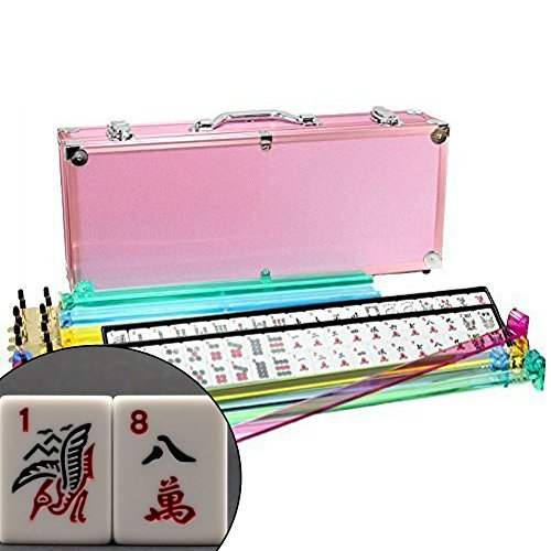 4 Pushers + Brand New Complete American Mahjong Set in PINK Case, 166 Tiles (mah Jong Mah Jongg Mahjongg) by KT by KT