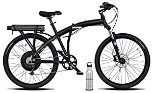 Prodeco V5 Phantom X2 8 Speed Folding Electric Bicycle, Matte Black, 26-Inch/One Size, w/ SafeCastle SS Bottle