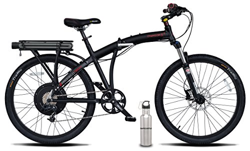 Prodeco V5 Phantom X2 8 Speed Folding Electric Bicycle, Matte Black, 26 Inch/One Size