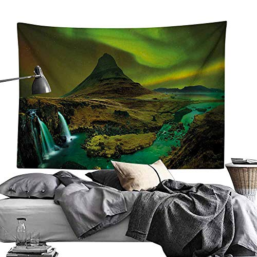 Modern Tapestry, Northern Lights,Pale Weather Over The Hills with Waterfall Creek Nature Landscape,Fern and Olive Green Tapestries for Bedroom Living Room Dorm Party Decor60 x80 ()