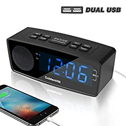 GoldenHill FM Digital Alarm Clock Radio with Dual USB Charging Ports, Dimmer LED Display, Snooze, Sleep Timer and Battery Backup For Bedrooms