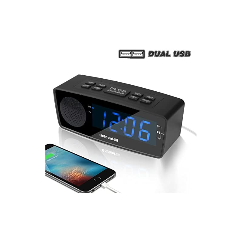 GoldenHill FM Digital Alarm Clock Radio