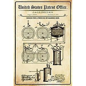Plaque en tôle 30 x 20 cm U.S. Brevet Office. - Design for a Process of Making Beer (O.& O.B. Deko7 1893 Berceau décoratif 4