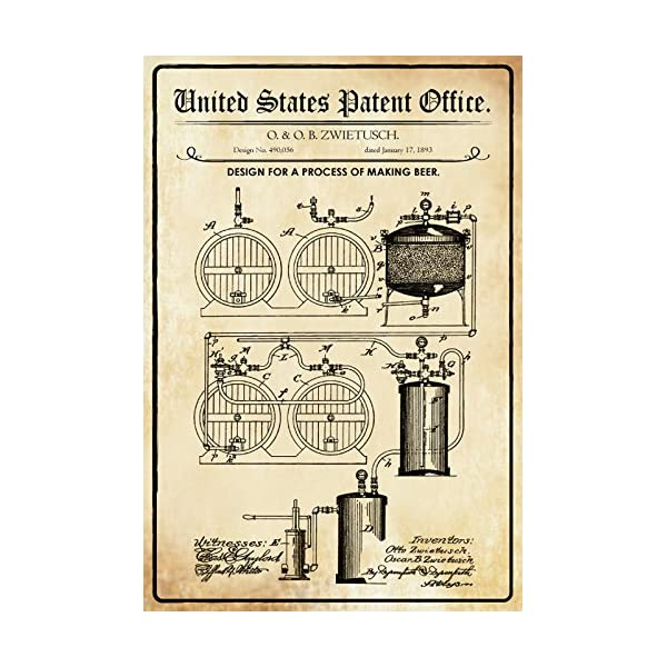 Plaque en tôle 30 x 20 cm U.S. Brevet Office. - Design for a Process of Making Beer (O.& O.B. Deko7 1893 Berceau décoratif 1