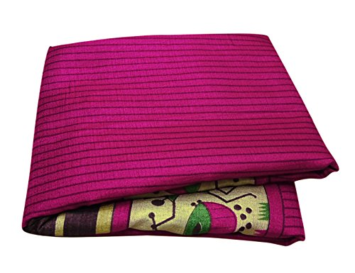 Peegli Indian Women Vintage Saree Stripe Printed Dress Magenta Bhagalpuri Silk DIY Craft Used Fabric Traditional (Stripe Saree)
