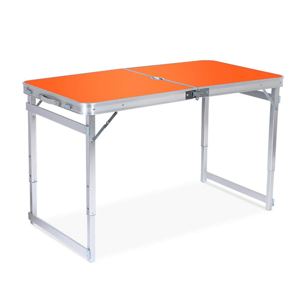 SHELFDQ Convenient Folding Table - Adjustable Height Aluminum Deformation Table for Indoor and Outdoor Use Modern (Color : Orange)