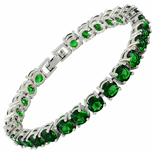 Infinity Emerald Bracelets (RIZILIA Round Cut Simulated Green Emerald CZ 18K Gold Plated Tennis Bracelet, 7