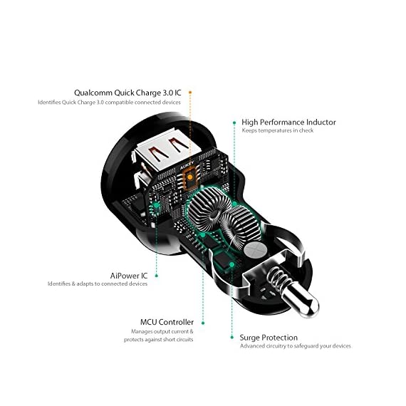 AUKEY QC 3.0 Car Charger, Dual Ports 18W Quick Charge Qualcomm Certified 36W in Total for Samsung Note 8 / S9 / S10+, LG G6 / V30, HTC 10 and More 4 Quick Charge 3.0: Charges 2 compatible devices simultaneously up to 4 times faster than conventional charging ( Fast Charge is not supported on the Google Pixel/XL and Google Pixel 2/XL. To fast charge Google Pixels, see this item: https://www.amazon.com/dp/B079MWXSS8) Optimal Charging: Dual Quick Charge 3.0 Ports with AiPower Adaptive Charging Technology Universal Compatibility: Compatible with all USB-powered devices including Quick Charge 2.0 and Apple phones & tablets