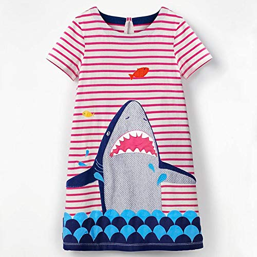 VIKITA Kid Girls Cute Blue Short Sleeve Pony Summer Dress SMK004 Blue 5T -