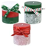 Luminessence Unscented Festive Pillar Holiday Candles - 3 Pack
