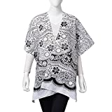 White and Black 100% Polyester Floral Lace Pattern Swimsuit Cover-ups Kimono For Women One Size