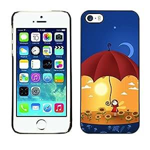 Cubierta de la caja de protección la piel dura para el Apple iPhone 5 / 5S - Cute Umbrella Girl