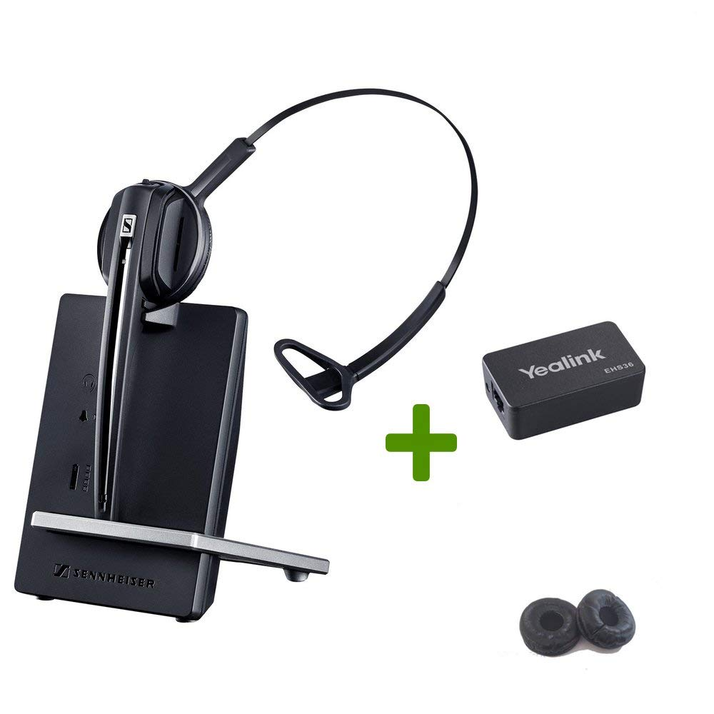 Global Teck Bundle with Sennheiser D10 Wireless Headset for Yealink Phones - EHS and Bonus Cushions Included | Compatible Models: T48S, T48G, T46S, T46G, T42S T41S, T41P, T40P, T40G, T29G, T27P, T27G by Global Teck Worldwide