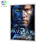 24''X36'' Backlit Movie Poster Art Picture Frame Led Light Box With Aluminum Snap Photo Frame Sign Holder (Silver)