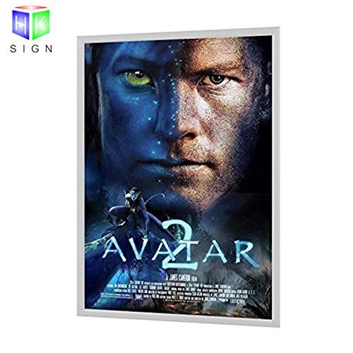 Aluminum Snap Backlit Movie Poster Frame advertising display led light box (Silver)