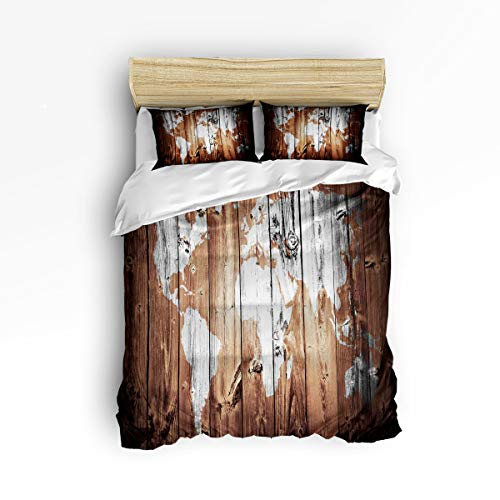 YEHO Art Gallery Fashion Duvet Cover Sets Queen Size Vintage Map of The  World on The Wood Pattern,Decorative 3 Piece Bedding Set Include 1  Comforter ...