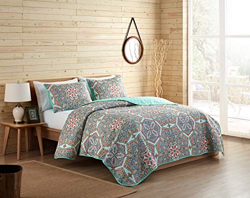 VCNY Home Yara 3-Piece Reversible Medallion Quilt Set, King,