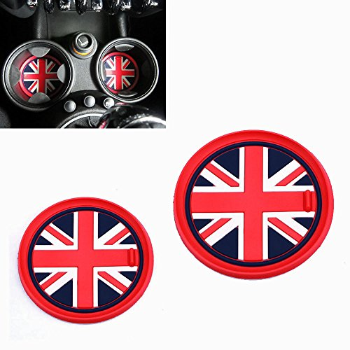 iJDMTOY (2) 73mm Red Union Jack UK Flag Style Soft Silicone Cup Holder Coasters For MINI Cooper R55 R56 R57 R58 R59 Front Cup Holders