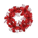 Hot Sale!!Woaills Window Ornament Garland Wreath,Christmas Party Leaf Door Wall Decoration Diameter - 35cm/13.7'' (red)