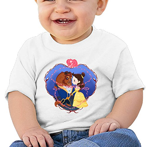Price comparison product image Boss-Seller Beauty And The Beast Short Sleeve T Shirts For 6-24 Months Toddler Size 18 Months White