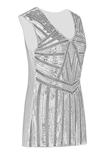 9c66299bc4bda1 Metme Women Vintage V Neck Slight Loose Flashy Sequin Sparkly Vest Tops  Tank Tops Gray Silver