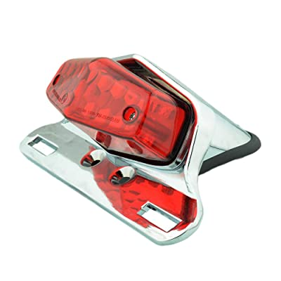 Motorcycle 19 LED Rear Stop Taillight Rear Tail Brake Light License Plate Holder Custom (Chrome-Red): Automotive