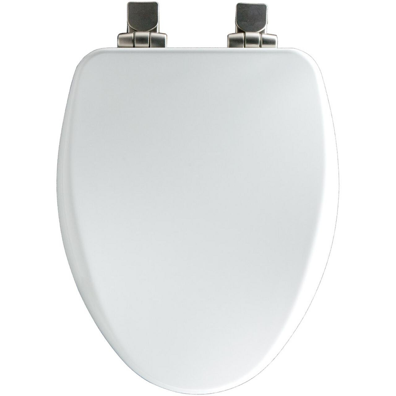 wooden soft close toilet seat white. Church 18170NISL 000 Elongated Soft Close Toilet Seat with Nickel Hinges  White Amazon com