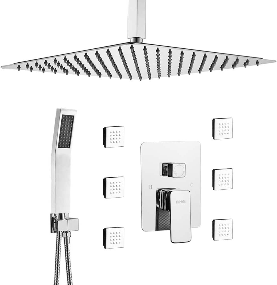 STARBATH Shower Jets System, 12 Inch Ceiling Mounted Rainfall Shower Head with 6 Body Sprays and Brass Handshower, Shower Faucet Rough-in Mixer Valve and Trim Included Shower Combo Set, Chrome