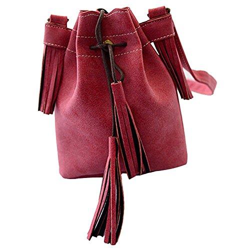 TOOGOO(R) Bolso de las mujeres de la borla de moda Bolso del cubo de cuero de la PU para mujeres Bolso del remiendo del mensajero de hombro Marron Rojo(20*16*4cm)