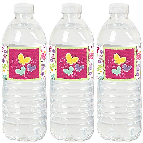 Playful Butterfly and Flowers - Baby Shower or Birthday Party Water Bottle Sticker Labels - Set of 20