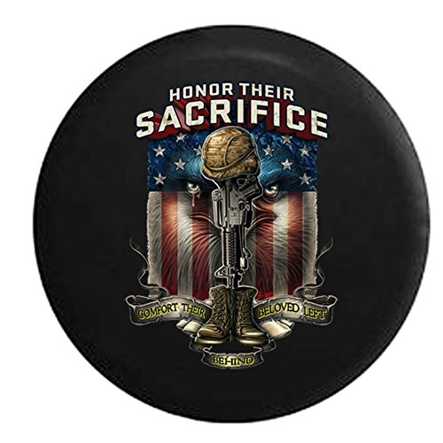 Military Honor Their Sacrifice Comfort Their Beloved Left Behind Veteran POW MIA Eagle Flag Spare Tire Cover Black 33 in ()