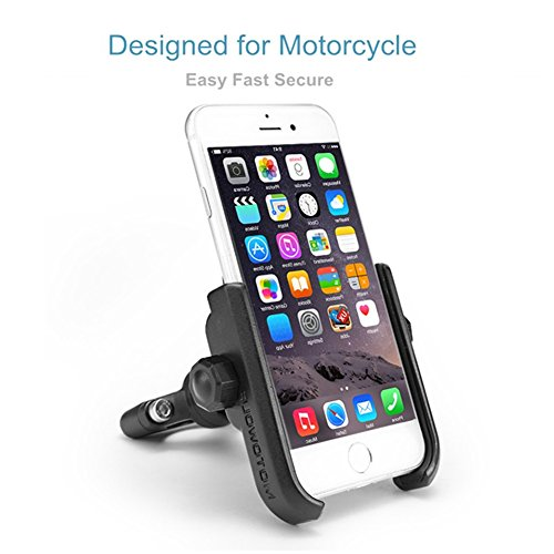 ILM Motorcycle Phone Mount Premium Aluminum Universal Bike Handlebar Holder Fits iPhone X, 7 | 7 Plus, 8 | 8 Plus, iPhone 6s | 6s Plus, Galaxy S7, S6, S5, Holds Phones Up To 3.7'' Wide (SILVER) by ILM (Image #3)