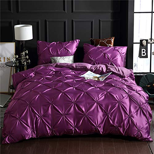 Dark Purple Bedding Silk Like Satin Pintuck Duvet Cover Set Pinch Pleated Ruffle Microfiber Bedding Sets Queen(90