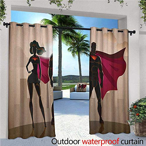 familytaste Superhero Outdoor Blackout Curtains Super Woman and Man Heroes in City Solving Crime Hot Couple in Costume Outdoor Privacy Porch Curtains W84 x L84 Beige Brown Magenta -