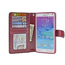 Navor Protective Flip Wallet Case for Samsung Galaxy Note 4 - (Maroon)