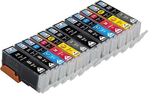 Skia Pixma MG7720, TS8020, TS9020 Compatbile Ink Cartridges. 2 Pigment Black, 2 Black, 2 Cyan, 2 Magenta, 2 Yellow, 2 Gray. (12 Pack)