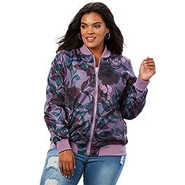 Roamans Women's Plus Size Zip-Front Bomber Jacket