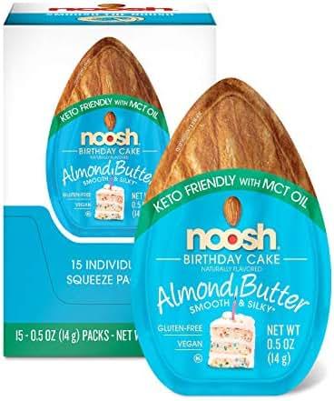 NOOSH Keto Birthday Cake Almond Butter Packets 15ct (0.5oz) - Vegan, Gluten Free, Kosher, Non GMO, No Soy, No Dairy, No Peanuts, Keto Friendly, low carb