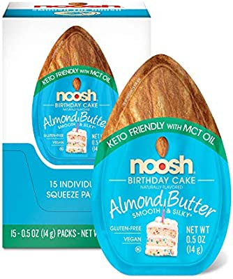 Amazon Noosh Keto Friendly With Mct Oil Birthday Cake Single Serve Caddy Almond Butter 14 Gram 15 Count Health Personal Care