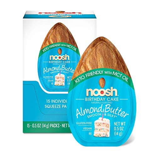 - Noosh Keto Friendly with Mct Oil Birthday Cake Single-Serve Caddy, Almond Butter, 14 Gram, 15 Count