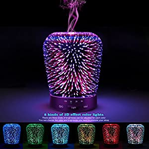 SZTROKIA Ultrasonic Aromatherapy Oil Diffuser 150ml Essential Oil COOL MIST Humidifier with 3D 14 Color Changing Starburst LED lights by SZTROKIA