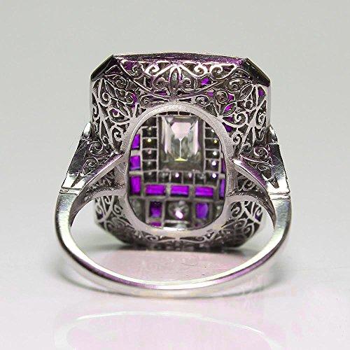 WensLTD_ 1PC Boho Jewelry Silver Natural Gemstone Marquise Moonstone Personalized Ring (#8, Purple)