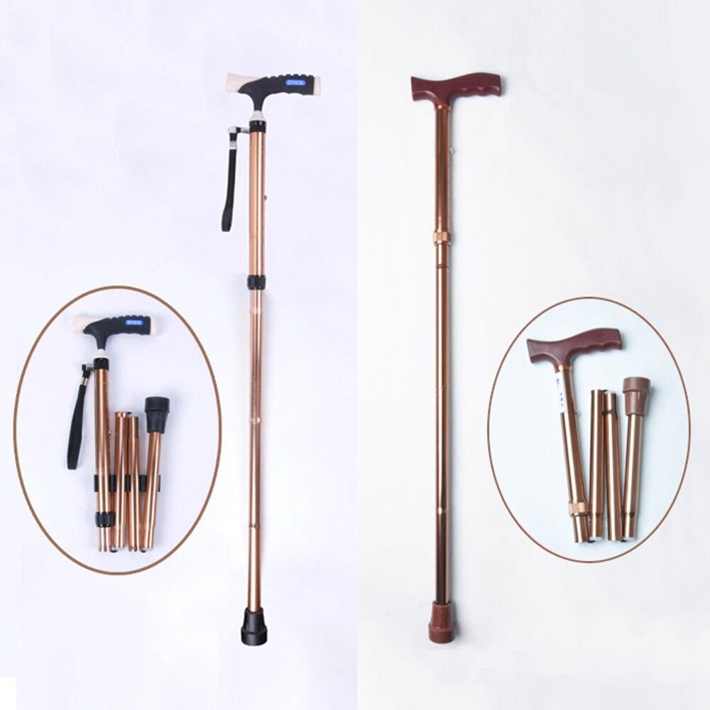 Liquor Medical New Older Elder Old Men Alluminum Folding Adjustable Cane Walking Stick Brown 29.53-38.58 inch