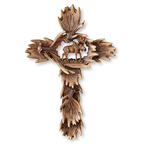 Collections Etc Moose Antler Cross Religious Cabin Décor, Carved Look, 10.25 x 15.5 Inches (Carved Moose Antlers)